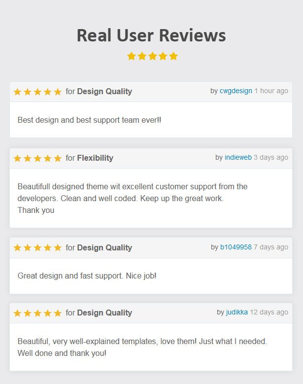 onepage template customer review