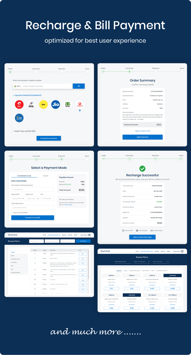recharge and bill payment html template