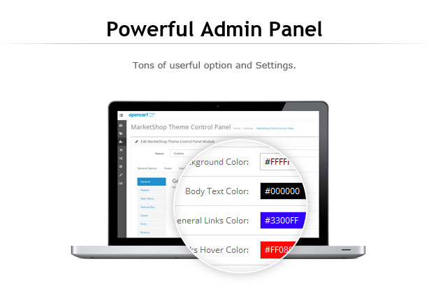 marketshop theme-admin control panel