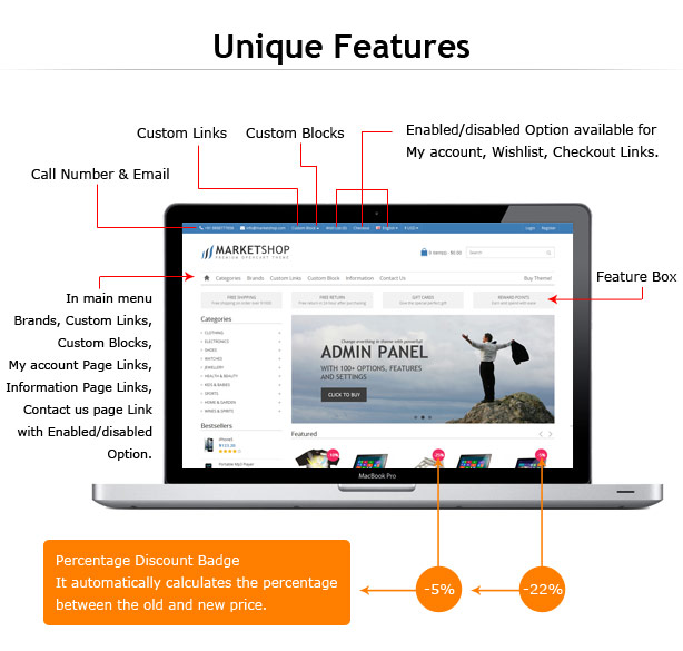 opencart theme features